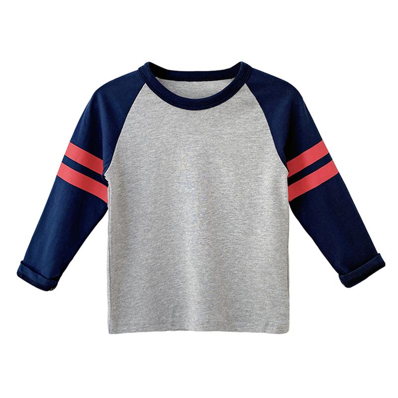 儿童撞色插肩袖圆领T恤2021春秋新款中小童棉质打底衫宝宝童装潮