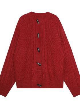 王少女的店牛角扣毛衣2021年春新款宽松外穿洋气红色麻花针织开衫
