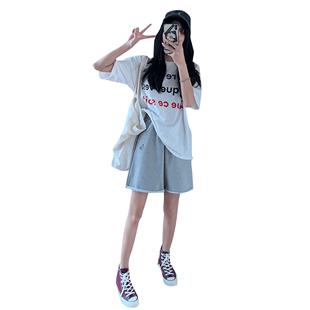 運動短褲女夏季薄款寬鬆ins潮2020年新款中褲bf風港味直筒5五分褲