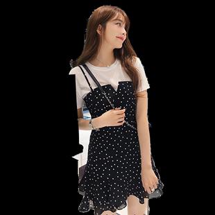 2020春夏新款韓版短袖t恤上衣女波點吊帶連衣裙兩件套時尚套裝裙