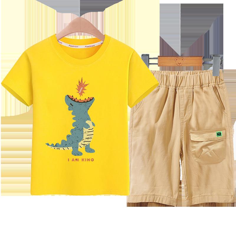 童装男童短袖短裤套装2020新款纯棉儿童夏装中大童洋气休闲两件套