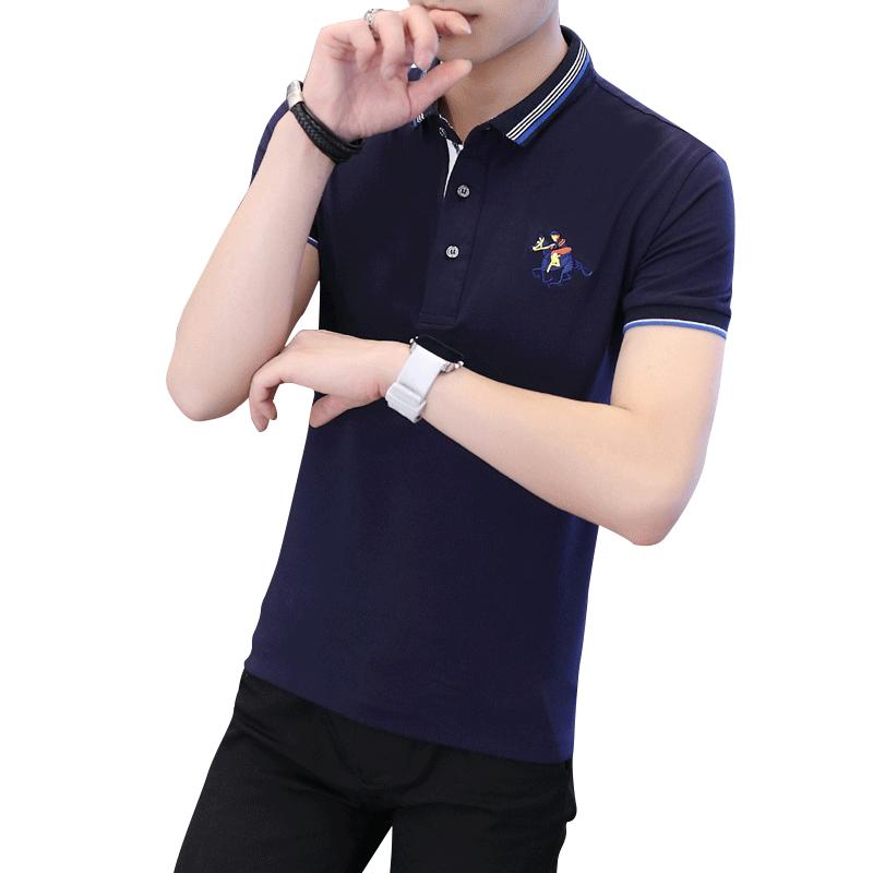 男士短袖t恤丅潮牌男装有领潮流翻领纯棉polo衫衣服休闲夏季