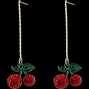 戴拉 高級感網紅925銀針可愛櫻桃設計感耳釘小眾網紅耳環女長款