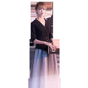 高端宴會晚禮服女高級質感氣質長款主持人平時可穿星空漸變連衣裙