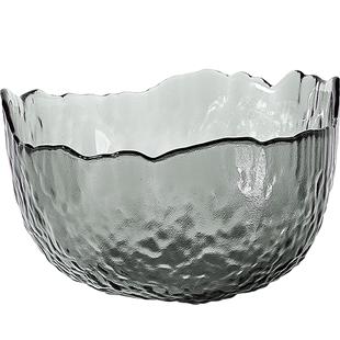 玻璃碗創意異形錘紋金邊無鉛玻璃水果沙拉碗家用透明餐具甜品小碗