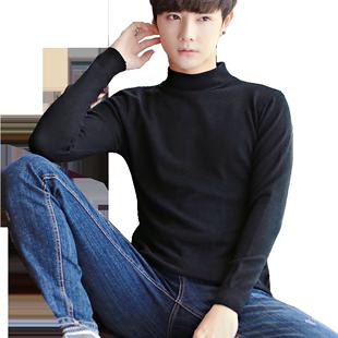 男士秋季韩版半高领纯色潮流毛线衣