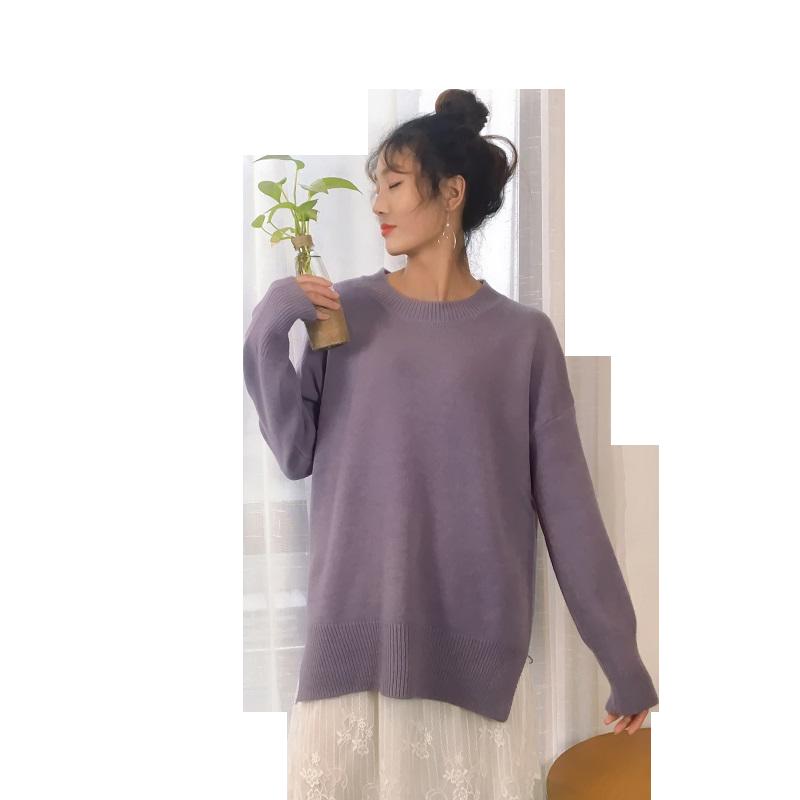 2019年秋冬新款套头针织毛衣女中长款韩版学生宽松慵懒风糖果色厚