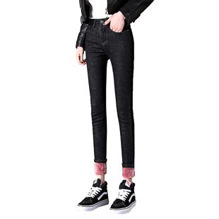 加絨加厚彈力高腰小腳牛仔褲女顯瘦2020秋冬新款修身學生九分長褲