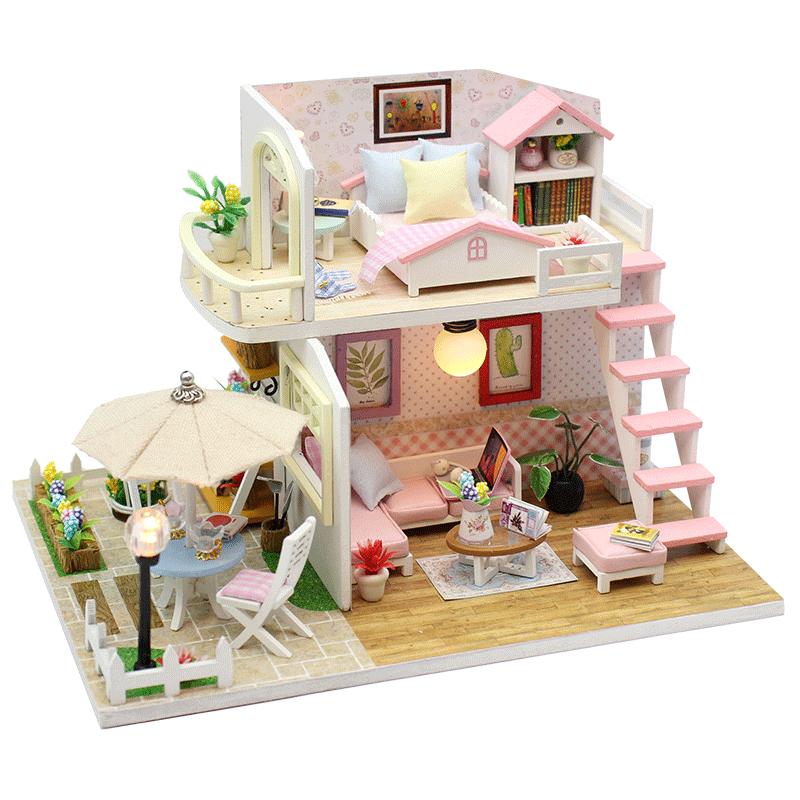 diy小屋粉黛阁楼手工制作房子模型