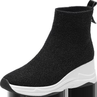DG厚底老爹襪靴女春秋短靴單靴2020新款內增高運動飛織彈力襪子鞋