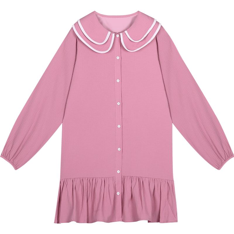 库恩玛维甜美小清新长袖连衣裙2019新款娃娃领粉色中长款衬衫裙子