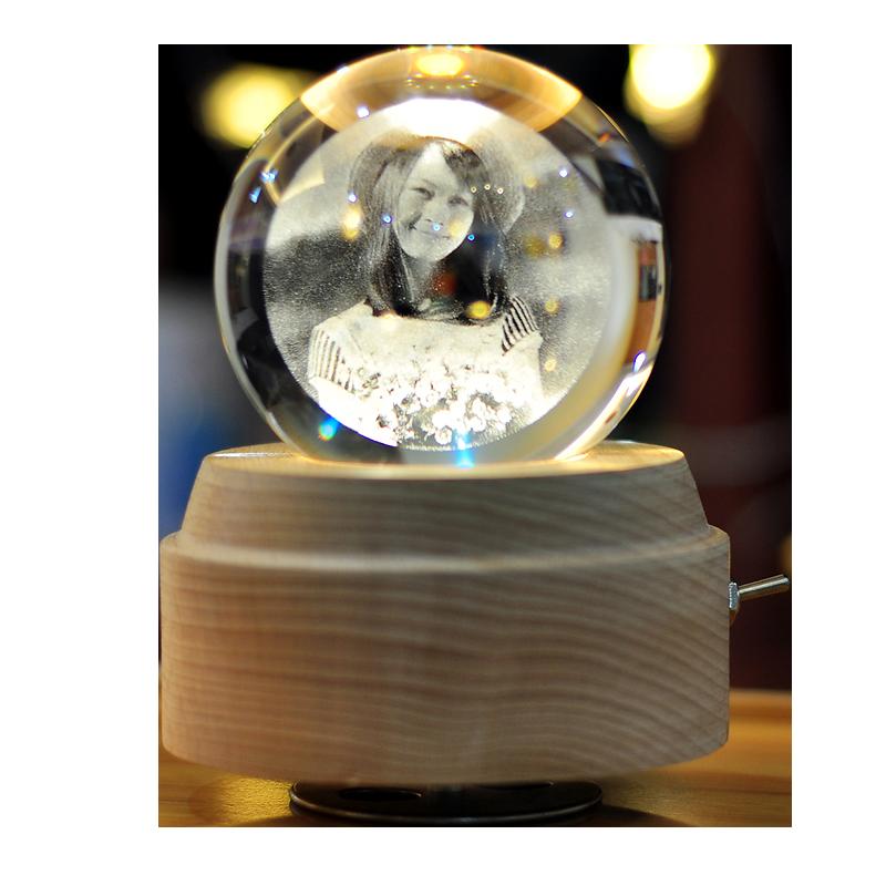 旋转发光水晶球音乐盒八音盒女生女孩生日礼物照片diy定制情人节