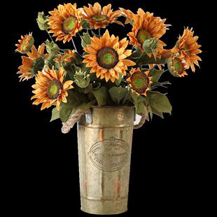 左岸麥田 油畫向日葵復古仿真花客廳擺件美式鄉村假花太陽花擺花