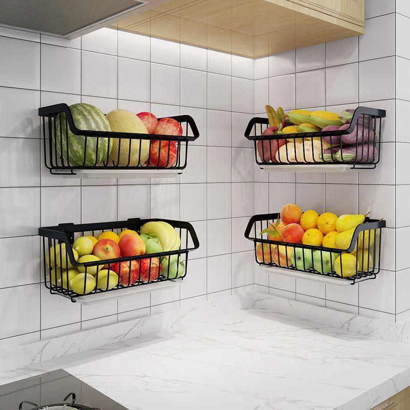 厨房蔬菜置物架壁挂式免打孔家居用品大全挂架菜架子水果筐收纳架