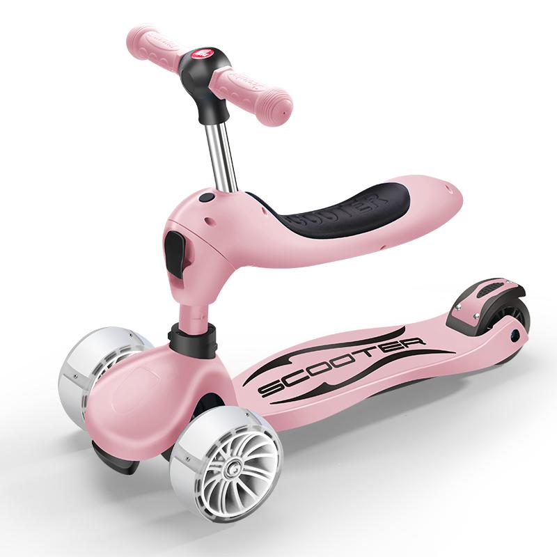 德国多功能滑板车儿童三合一1-2-3-6岁宝宝可坐4轮小孩折叠溜溜车