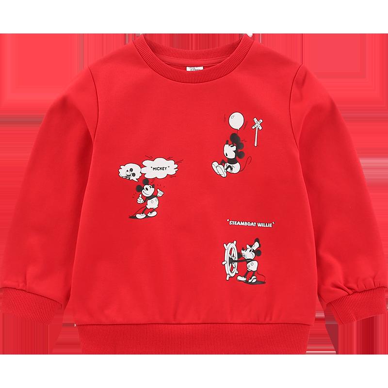 迪士尼男童卫衣春秋儿童洋气薄款米奇春装潮宝宝上衣加绒2020童装