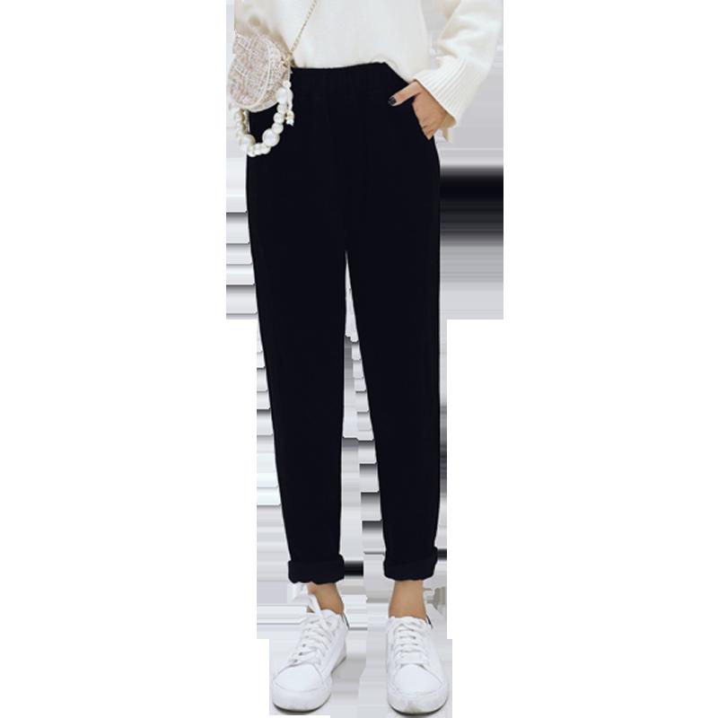 【回设】休闲裤女秋长裤学生条绒哈伦裤