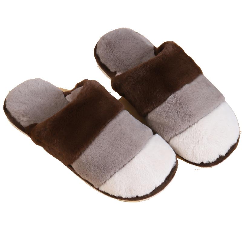 拖鞋男女士家用百搭夏亚棉麻日式保暖毛绒卧室透气舒适情侣居条纹