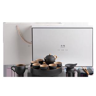 叁旬小金喜功夫茶具套裝家用簡約描金茶壺陶瓷小茶杯茶盤整套茶具