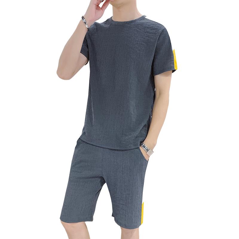 男装夏装2019新款潮时尚休闲运动套装夏天帅气衣服一套短袖t恤薄