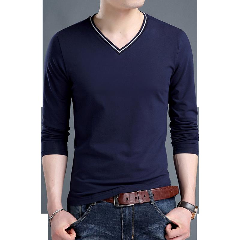 乔诺恩青年男士长袖T恤男V领棉T打底衫衬衫修身百搭时尚潮流休闲