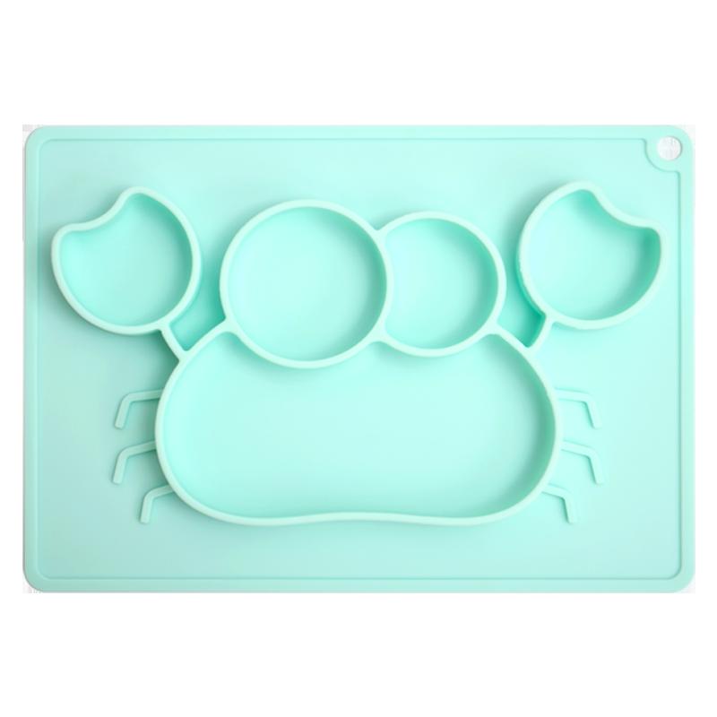 聪明妈咪儿童硅胶餐盘一体式辅食卡通螃蟹吸盘碗防摔宝宝分格餐具