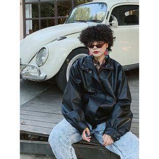 化學少女「朋克樂手」黑色復古皮衣外套女秋冬酷寬鬆機車服皮夾克