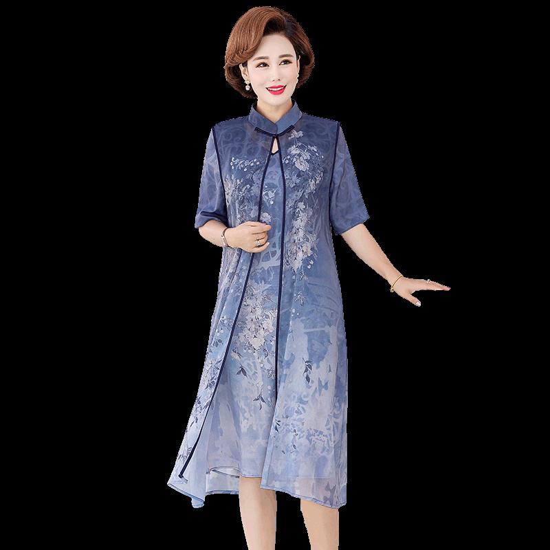 中老年女装阔太太连衣裙套装