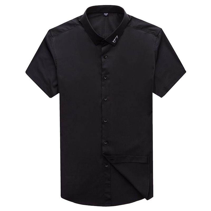 夏新衬衫男商务短袖中青年休闲衬衣