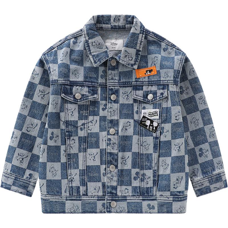 迪士尼童装男童秋装牛仔外套2021春秋新款洋气儿童纯棉梭织上衣