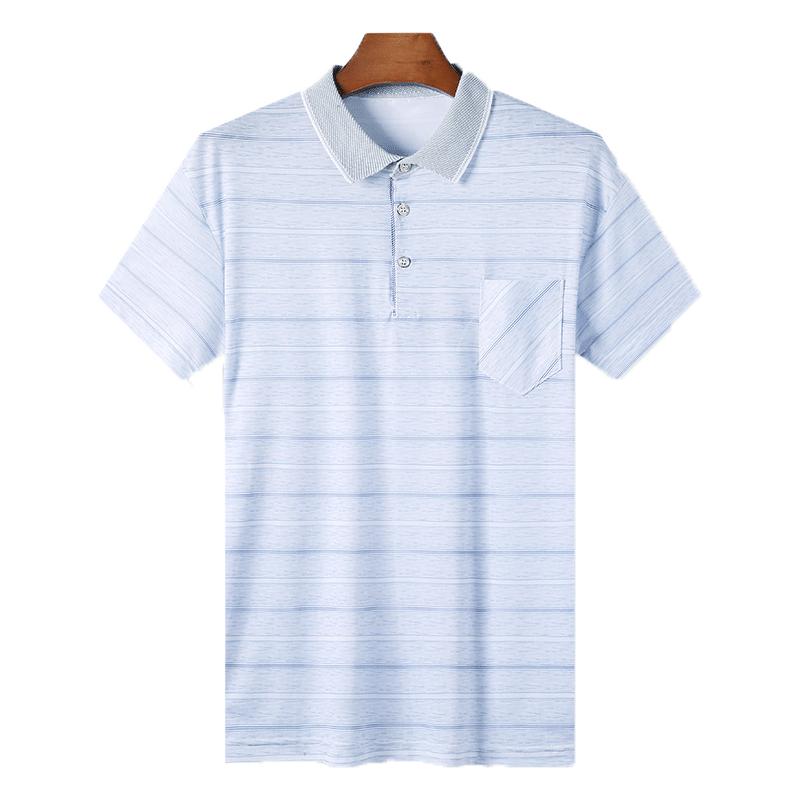 慕盾夏季中年男短袖t恤冰丝休闲宽松爸爸装半袖体恤Polo衫40-50岁