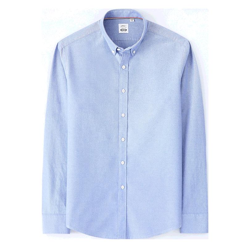 保罗秋季纯棉磨毛长袖商务休闲纯色衬衣