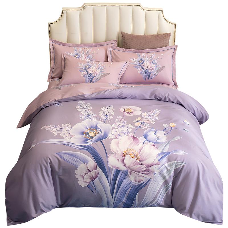 罗霓欧全棉四件套100%纯棉被套床单床笠款三件套单双人床上用品4