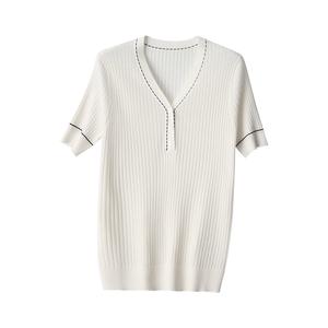 夏季法式小香风棉麻短袖针织衫t恤