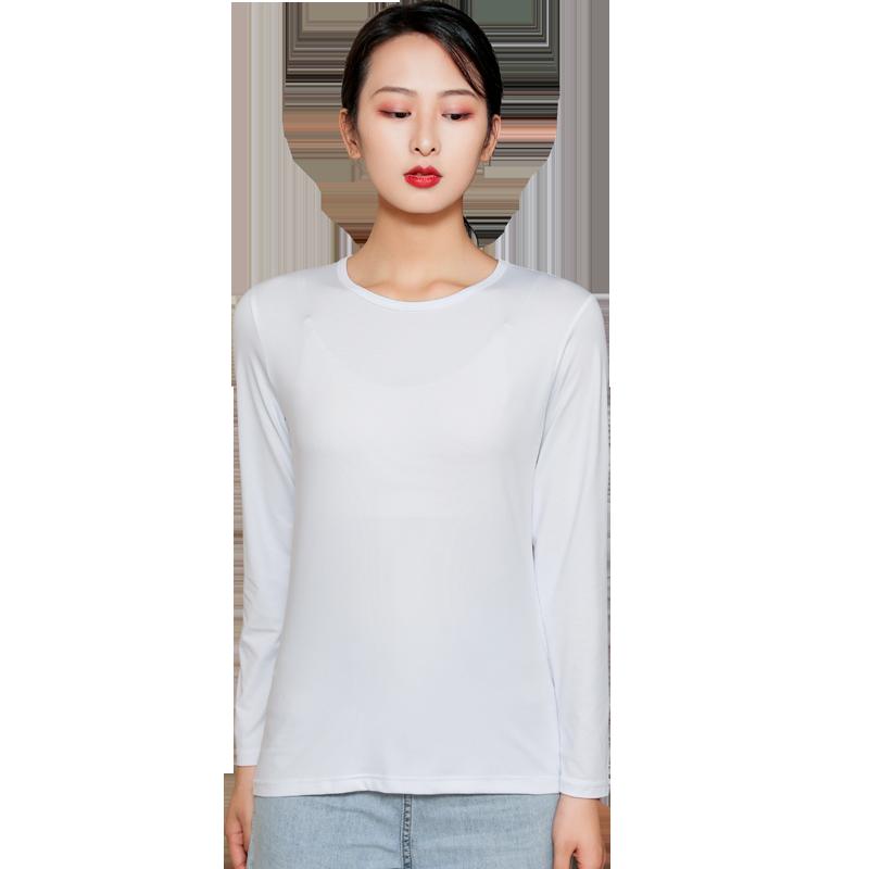 欧姿欣长袖T恤女圆领打底衫修身上衣纯白色内搭秋衣薄款体恤大码