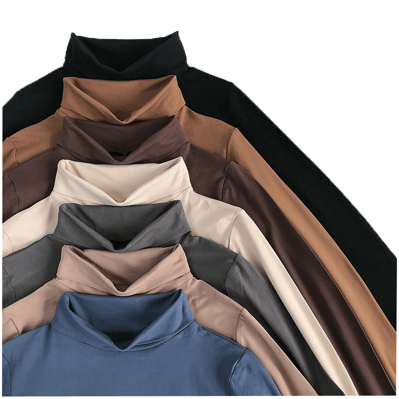大码女装高领打底衫秋冬季内搭长袖加绒加厚胖mm百搭200斤t恤上衣