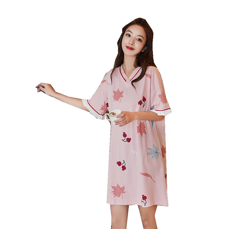 睡裙女夏季纯棉短袖薄款