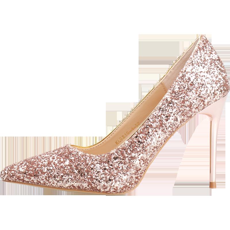 超烫仙女高跟鞋chic温柔网红细跟尖头法式婚鞋学生十八岁水晶鞋女