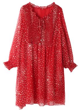 2021春季新款大码度假洋气很仙的法国小众雪纺红色碎花连衣裙过年