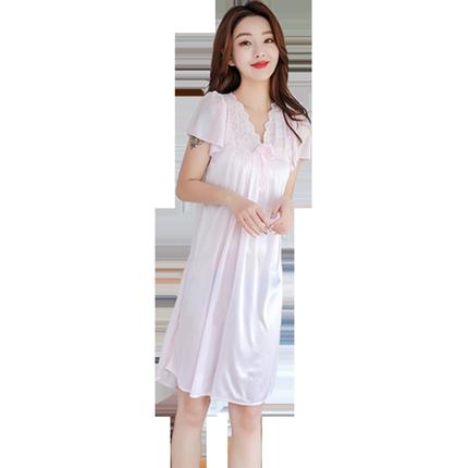 夏季冰丝绸短袖性感可外穿丝质睡裙