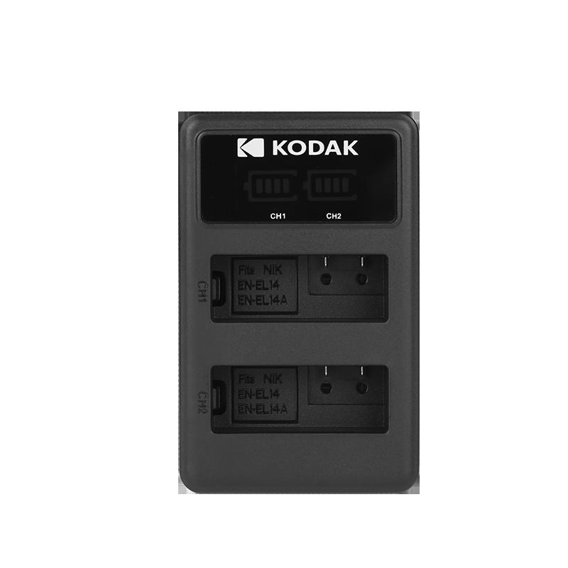 柯达尼康EN-EL14相机电池充电器D3100 D3200 D3300 D3400 D5100 D5500 D5600 USB数码单反配件非原装双口座充
