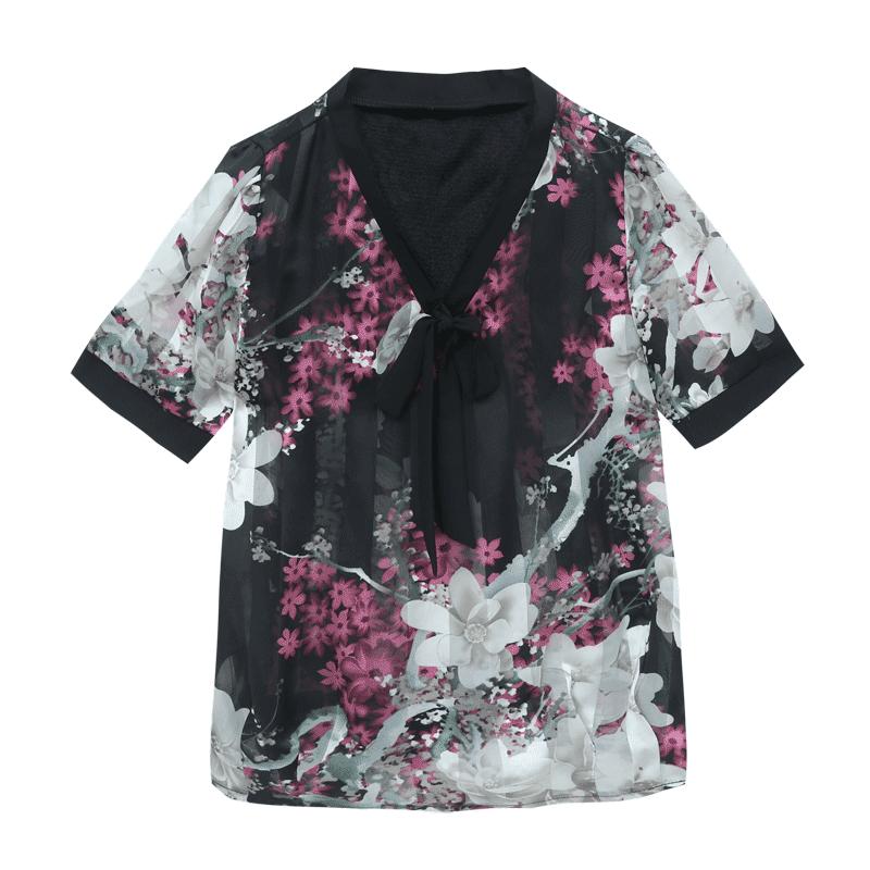 夏季女士短袖雪纺衫女装2019新款潮宽松遮肚子洋气碎花很仙的上衣