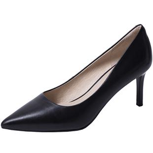 comely/康莉2020春季新款淺口高跟職業鞋女時尚真皮尖頭細跟單鞋