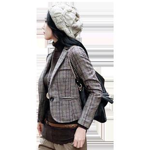 羊毛格子小西裝外套女2020新款修身氣質短款春秋收腰休閒西服上衣