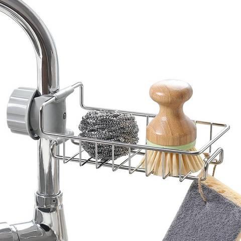 厨房卫生间龙头置物架不锈钢水池可调节卫浴水槽收纳架浴室整理架