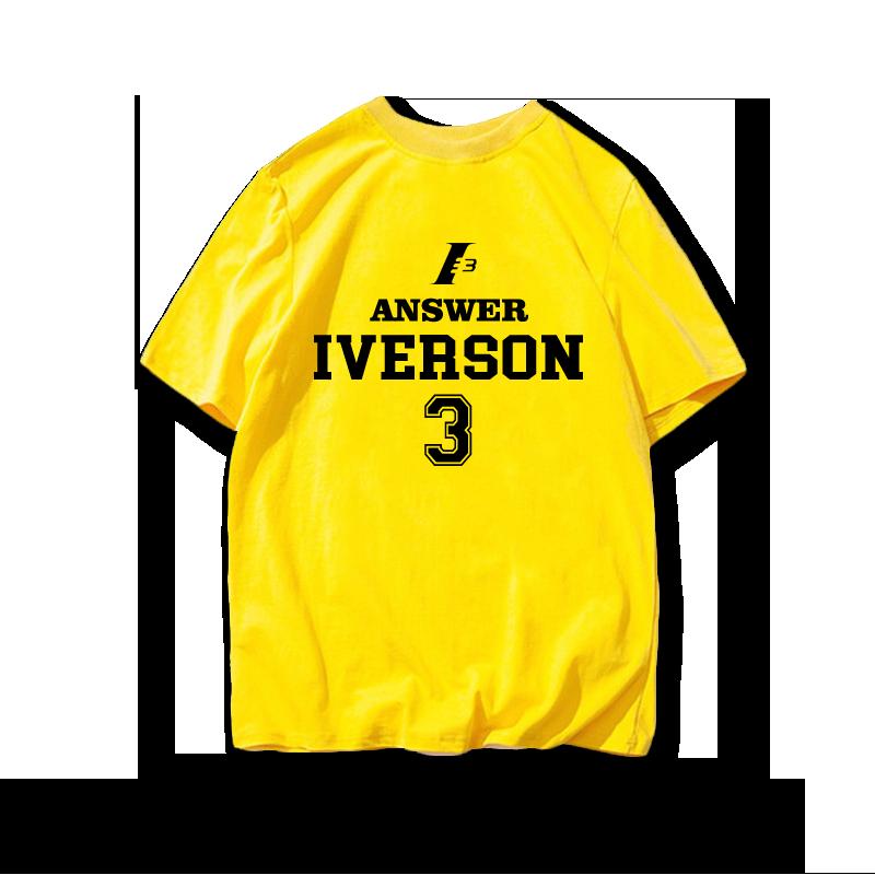 答案crossover之王艾弗森纯棉短袖T恤篮球运动艾佛森宽松半袖t恤