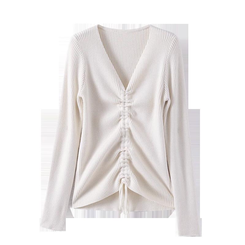 长袖女针织衫打底保暖毛衣秋冬新款竖条外穿性感修身显瘦V领上衣