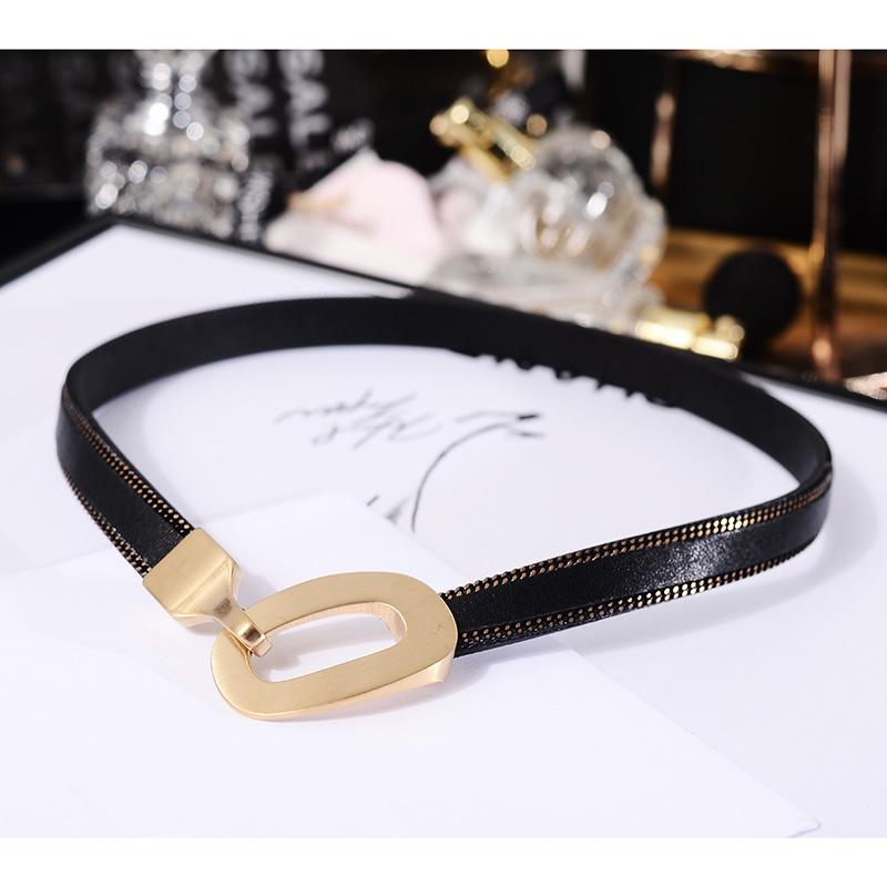 韩版黑色choker钛钢项链女皮绳颈链网红锁骨链脖子颈带项圈装饰品