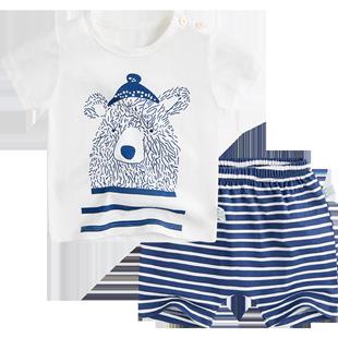嬰堂堂 寶寶短袖套裝夏兒童裝男嬰兒純棉衣服T恤女童短褲夏裝洋氣