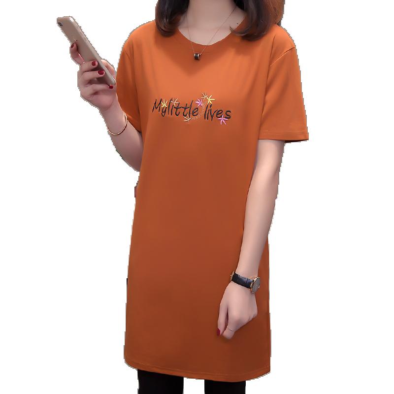 短袖T恤女中长款春夏装2019新款韩版大码显瘦宽松200斤纯棉打底衫